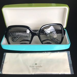 NWT Kate Spade Oversized Black Glitter Sunglasses
